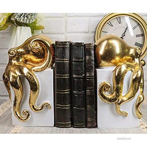 Ebros Contemporary Gold Color Octopus Light Duty Bookends Statue Set Nautical Coastal Resin Decorative Office Study-Room Library Desktop Decor Figurines White Base