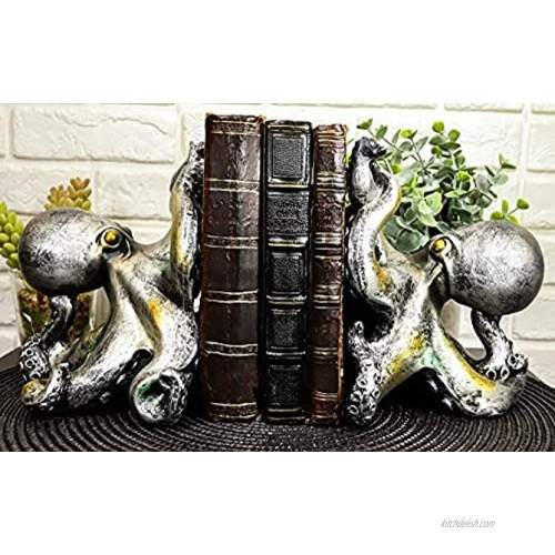 Ebros Nautical Coastal Sea Monster Octopus Bookends Set Statue in Faded Bronze Antique Finish 6.25 H Mythical Sea Giant Cthulhu Kraken Decorative Office Study-Room Library Desktop Decor Figurines