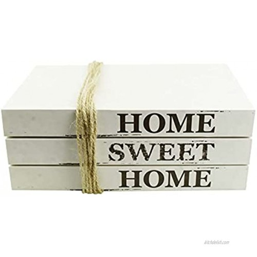 FOONEA Decorative White Books Home Sweet Home Stacked Books Rustic Farmhouse Accent Decor for a Living Room Coffee Desk Entryway Shelf End Table Mantel and Bedroom Night Stand Set of 3
