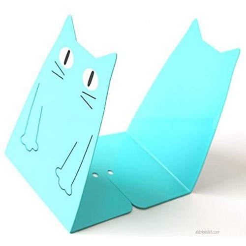 TOBSON Cute Cat Heavy Duty Bookend Nonskid Bookends Art Decoration,A PairsBlue